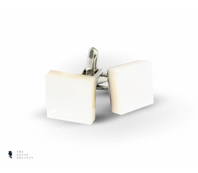 manchetknopen van Rhodium opgelegd met wit parelmoer