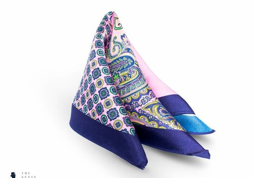 Tresanti geprint blauw roze pochet