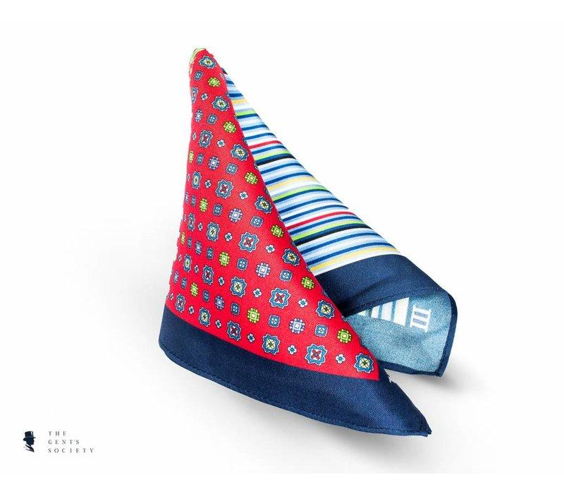 geprint blauw rood pochet van zijde