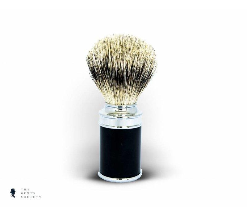 luxe scheerkwast traditional met exclusief Silvertip dassenhaar en zwarte handgreep