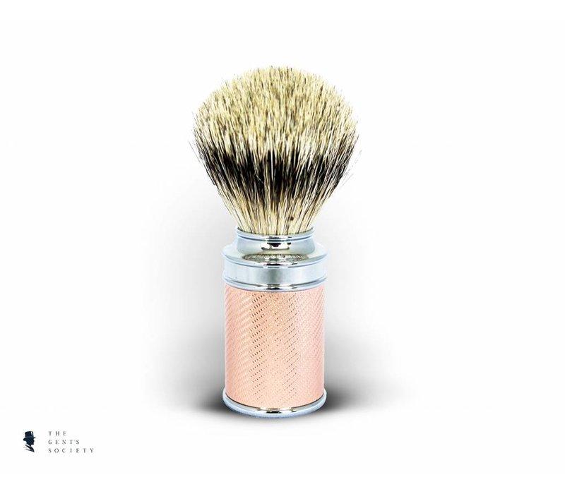 luxe scheerkwast traditional met exclusief Silvertip dassenhaar en rosé gouden handgreep