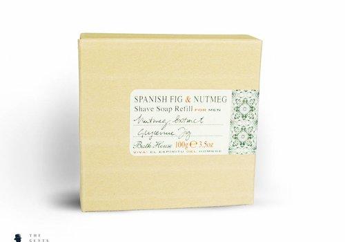 Bath House natuurlijke scheerzeep navulling Spanish Fig & Nutmeg