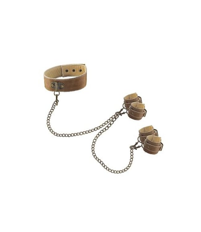 Ouch! Brown Boeien Set - Halsband Met Hand- En Enkelboeien
