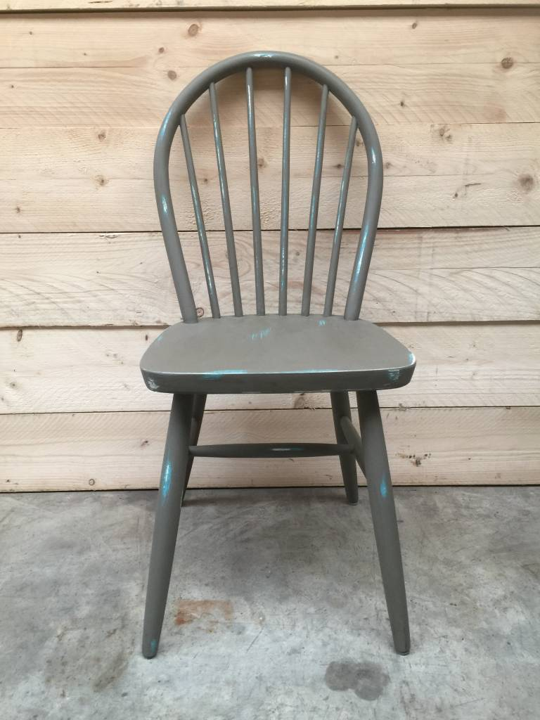 """Vintage Spijlen stoel """"Old Grey"""""""