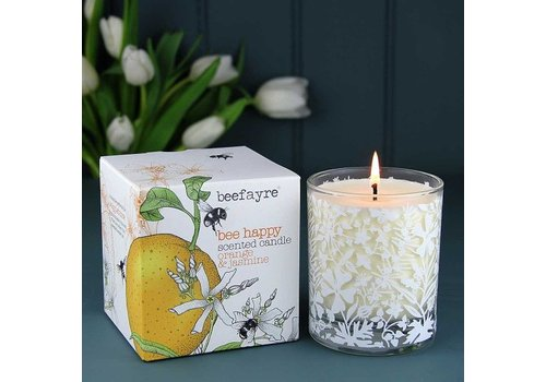 Beefayre Bee Happy Orange and Jasmine Candle