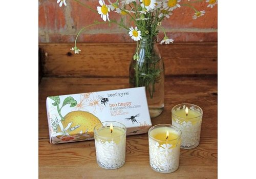 Beefayre Bee Happy Orange and Jasmine Votive Set