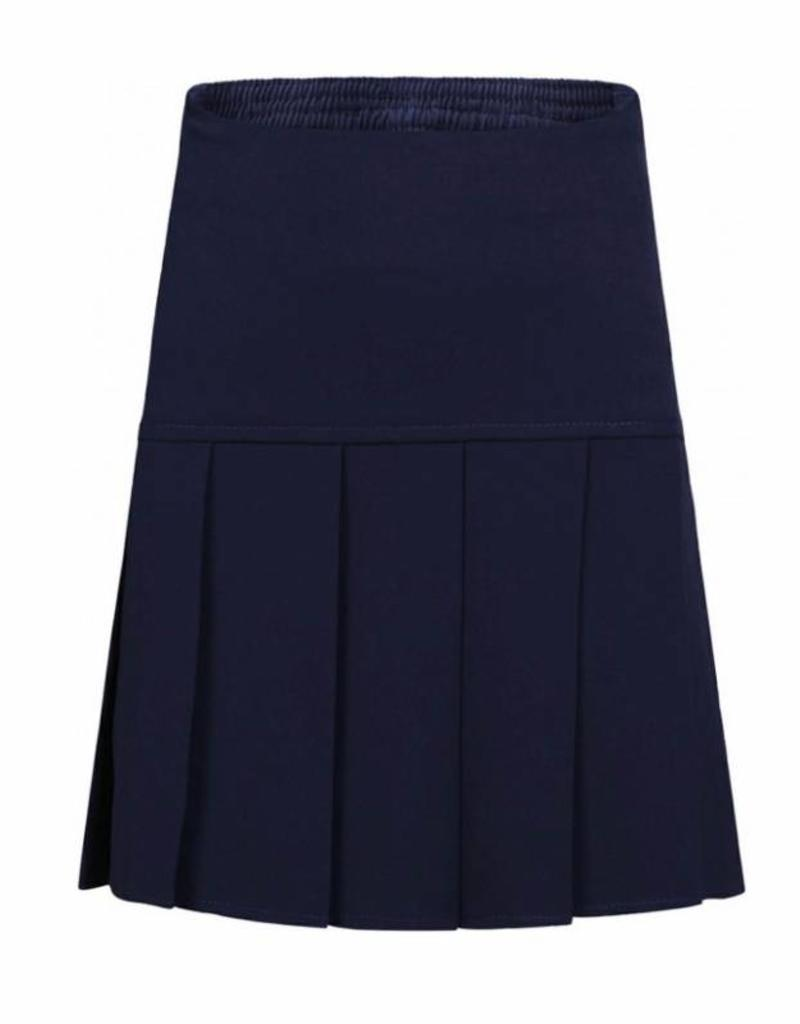 Navy Stretch Full Pleat Skirt