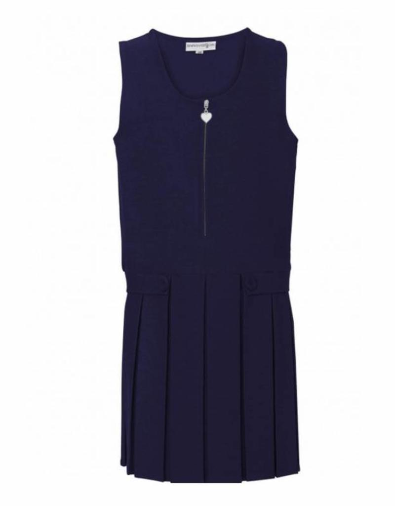Navy Two Button/Flap Pinafore With Heart Detail On Zip
