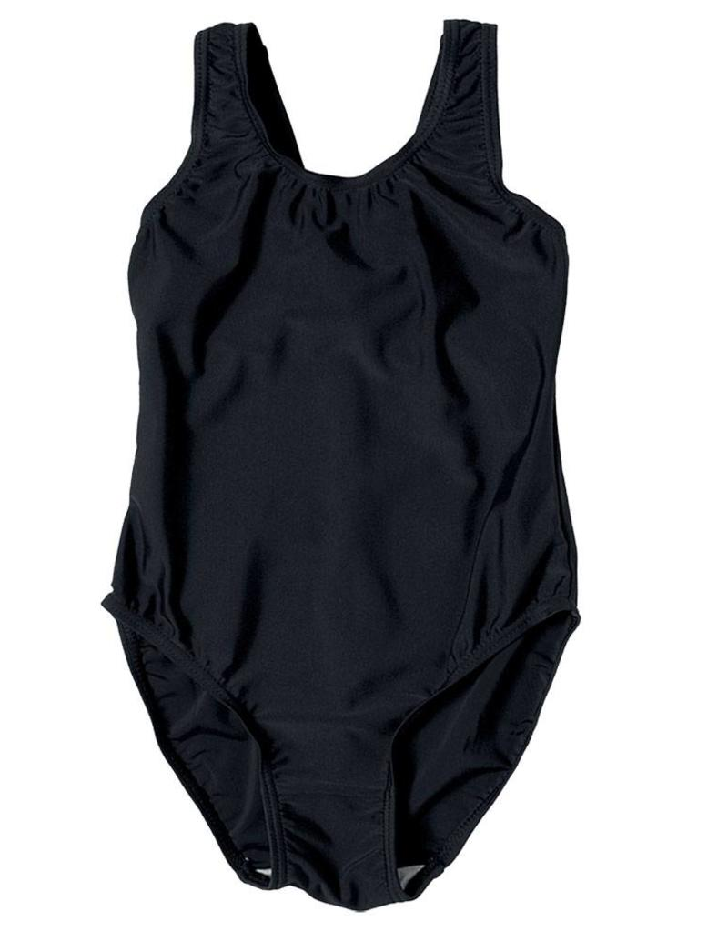 Girls Black Elastane Swimming Costume
