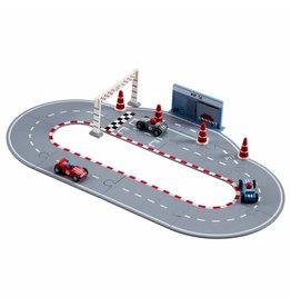Kid's Concept Kid's Concept set van racebaan + racevoertuigen blauw