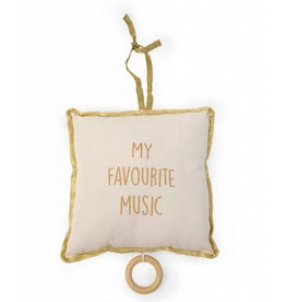 Childhome Childhome muziek kussen canvas wit + gold dots my favourite