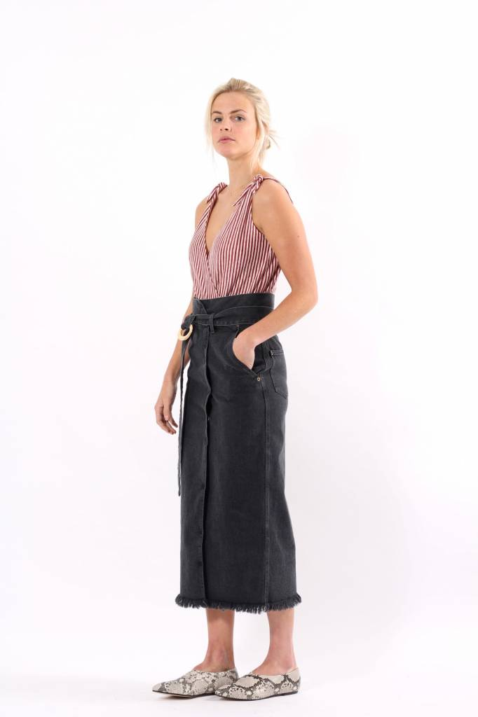 Nanushka Tuli Paperbag Waist Denim Skirt