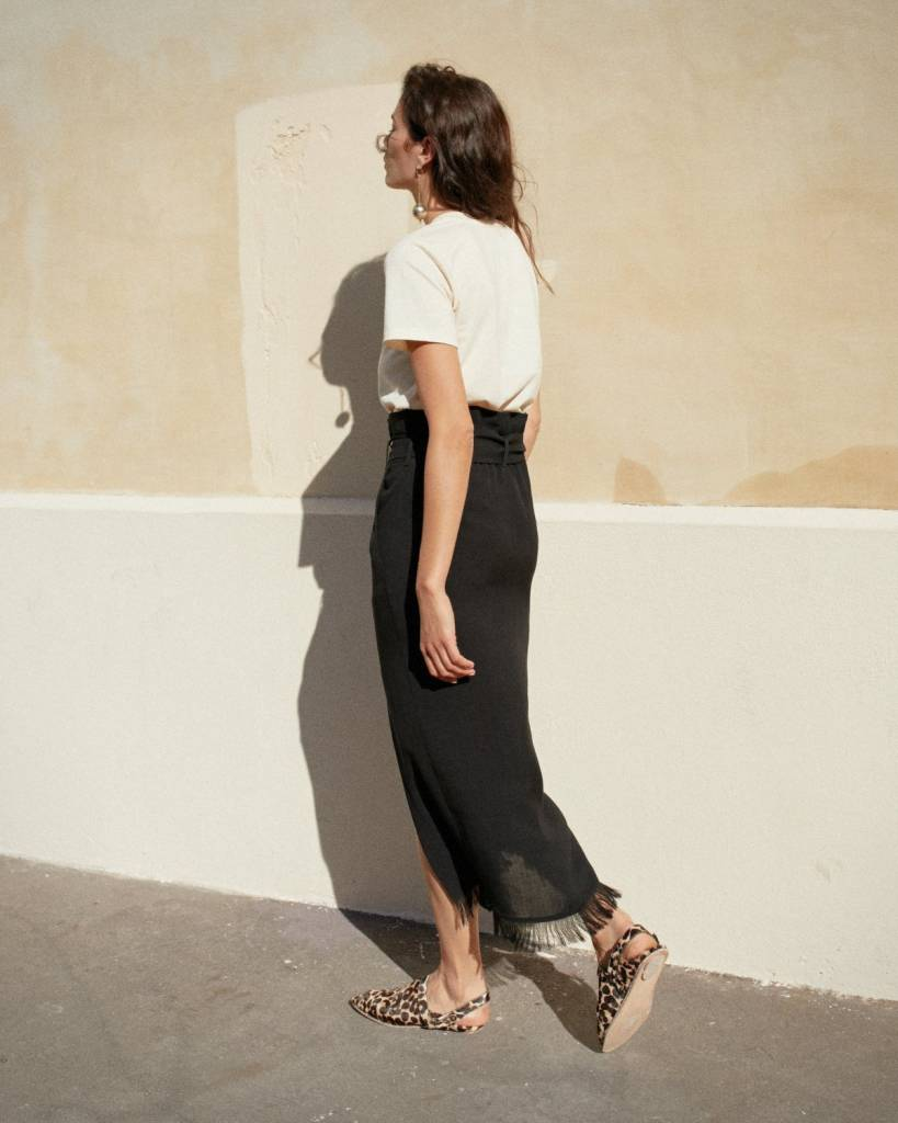 Nanushka Disa High Waist Skirt with Fringed Hem