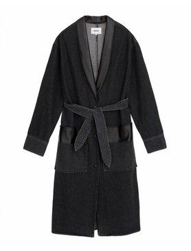 Nanushka Reno Denim Robe Coat with Leather Details