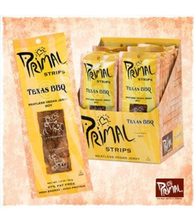 Primal Spirit Vegan Gluten Free Jerky Strips Texas Bbq 28g