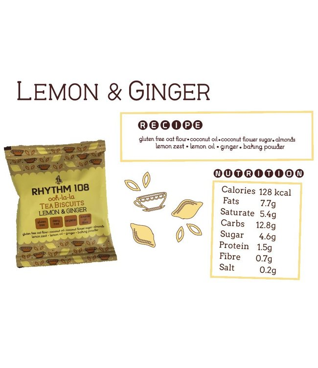 Ooh-La-La ORG GF Lemon Ginger 2 PACK T Biscuit 24g