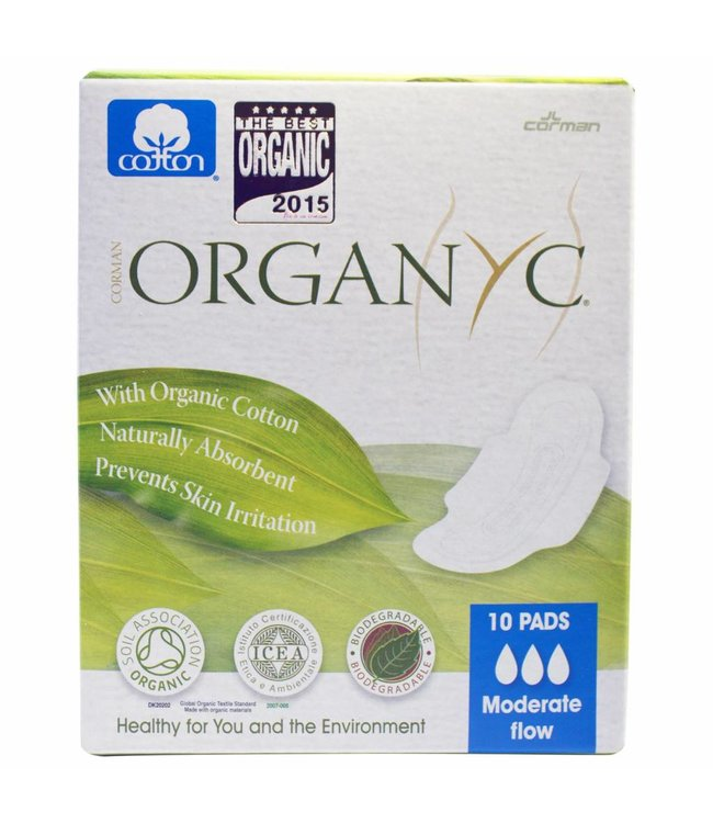 Sanitary Pads Moderate Flow (With Folded Wings) 100% Organic Cotton