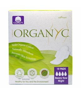 Sanitary Pads Night Heavy Flow (With Folded Wings) 100% Organic Cotton
