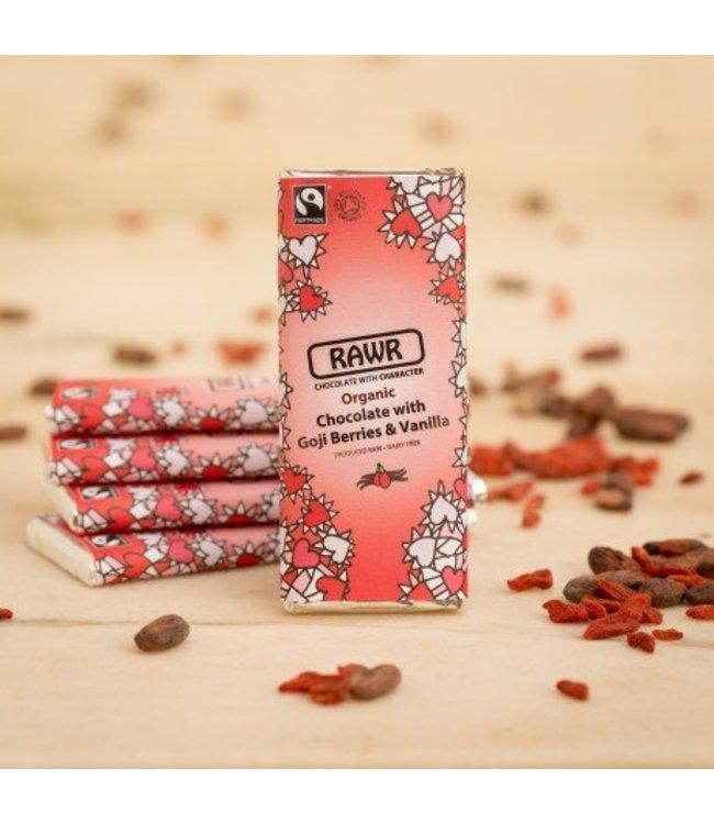 Organic Faitrade Goji And Vanilla Raw Chocolate Bar 60g