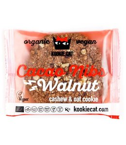 Kookie Cat Organic Raw Vegan Kookie Cat ORG GF Cacao Nibs & Walnut Cookies 50g