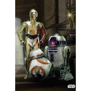 Star Wars Metalen Poster Force Awakens Droids 32 x 45 cm