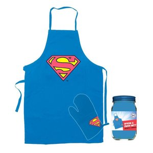 DC Comics Superman Cooking Apron with Oven Mitt Logo