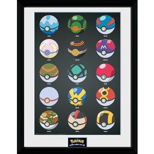 Pokémon Framed Poster Pokeballs 45 x 34 cm
