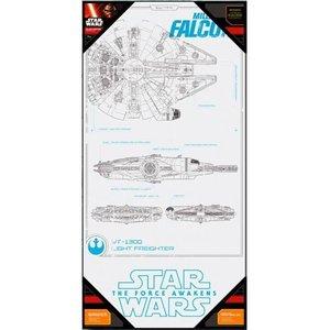 Star Wars Glass Poster Millennium Falcon 50 x 25 cm