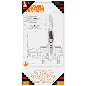 Star Wars Glass Poster X-Wing Fighter 50 x 25 cm