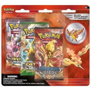 Pokemon TCG Moltres Legendary Collector's Pin 3-pack