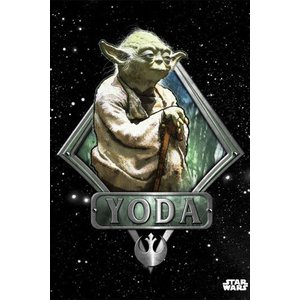 Star Wars Metalen Poster Yoda Vader Emblem 32 x 45 cm