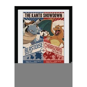 Pokémon Ingelijste Poster Red Vs Blue 45 x 34 cm
