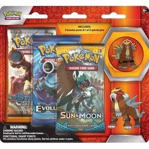 Pokemon TCG Entei Legendary Beasts Collectors Pin 3 Pack