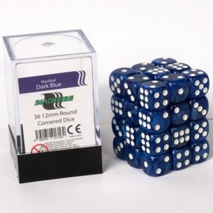 12mm D6 36 Dice Set - Marbled Dark Blue