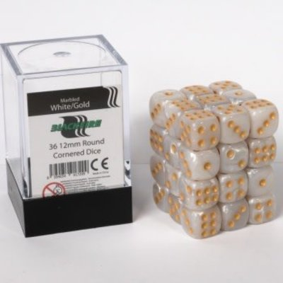 12mm D6 36 Dice Set - Marbled White Gold