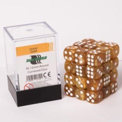 12mm D6 36 Dice Set - Marbled Gold