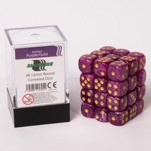12mm D6 36 Dice Set - Marbled Purple/Gold