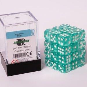 12mm D6 36 Dice Set - Transparent Cyan