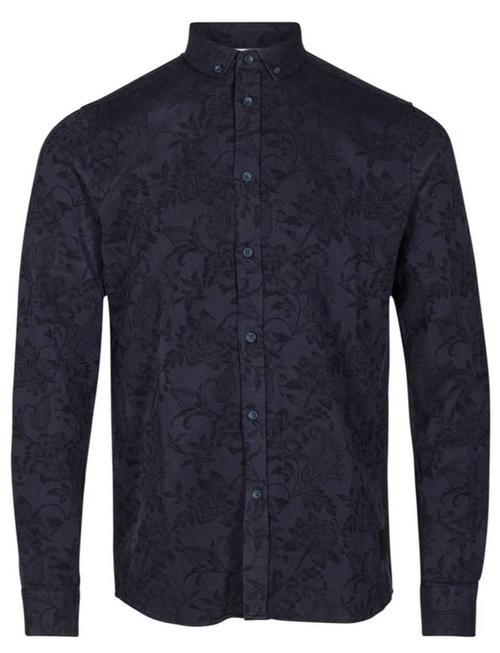 Anerkjendt Deep Blue Embroided Floral Konrad Shirt