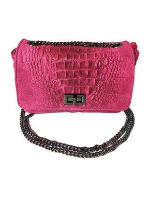 Genuine Leather Croc Bag - Pink