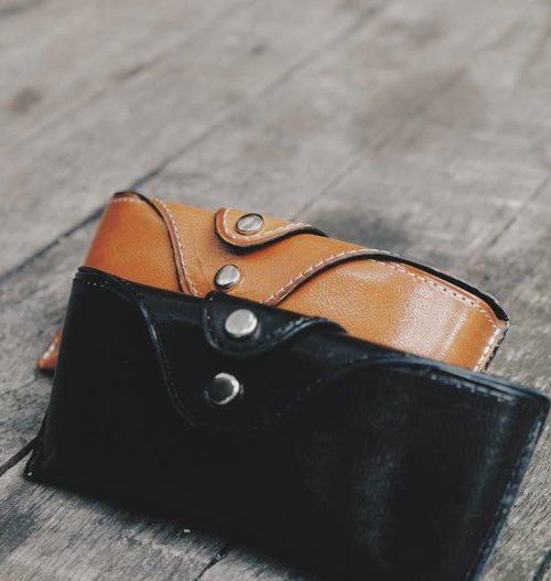 Black & Cognac Leather Cases Set