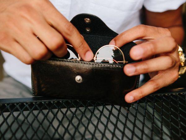 Zwart & Cognac Leren Brillenkokers Bundel - 15.7x2.7cm