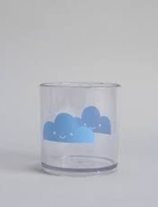 Buddy and Bear Buddy and Bear plastic glas happy clouds blauw