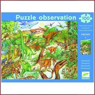 Djeco Observatiepuzzel Dinosaurussen 100 stukjes