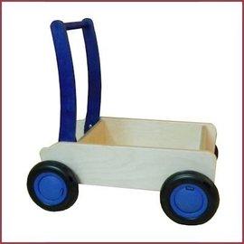 Van Dijk Toys stoere houten looopwagen/kar Blauw