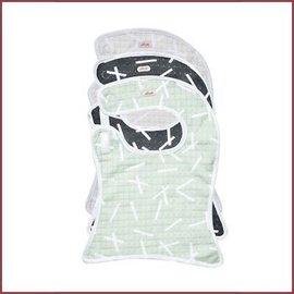 Lodger Bibber 3-pack Scandinavian print - Carbon/Ivory/Leaf