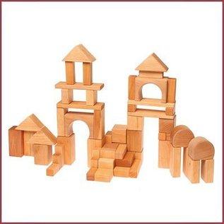 Grimm's Geometrische houten blokken natruel - 60-delig