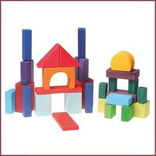 Grimm's Gekleurde geometrische houten blokken - 30-delig