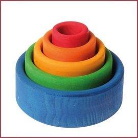 Grimm's Set gekleurde houten stapelbakjes - Blauw