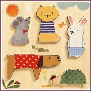 Djeco Houten Relief Puzzel Huisdieren